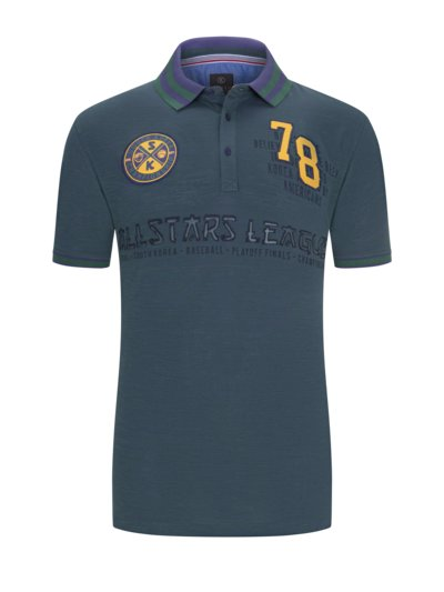 Polo shirt with fashionable appliqué v BLUE