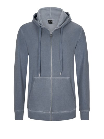 Sweatjacke im Washed-Look in BLAU