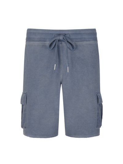 Sweat shorts in a washed look v BLUE