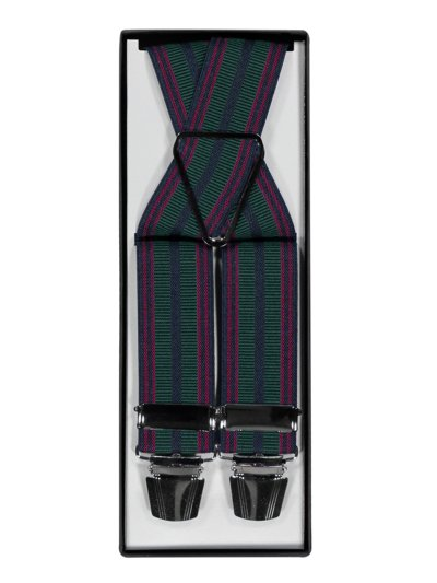 Suspenders with striped pattern v GREEN