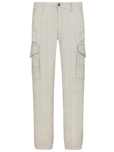 Cargo trousers with glen check pattern v BEIGE