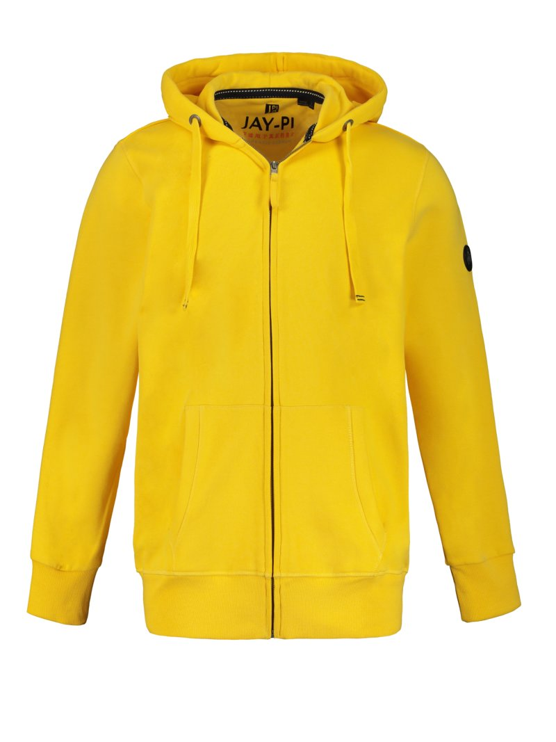 JP1880 Sweater jacket with hood YELLOW in plus size