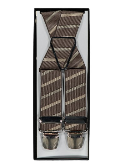 Suspenders, diagonal stripes v BROWN