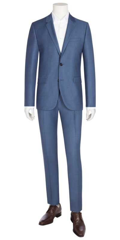 Businessanzug in feiner Minimalstruktur, Astian/Hets, Extra Slim Fit in BLAU