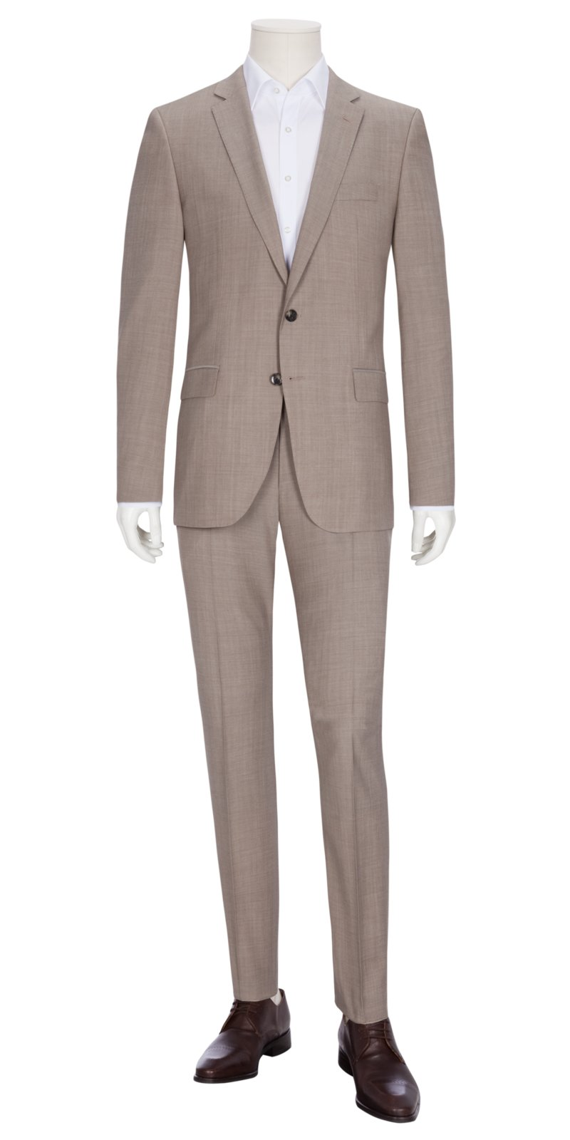Businessanzug in reiner Schurwolle, Huge6/Genius5, Slim Fit in BEIGE