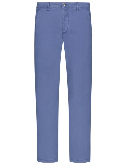 Chino in feiner Struktur, Tapered Fit in BLAU