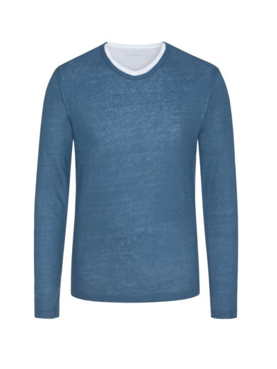 Langarmshirt, Layered Look in BLAU