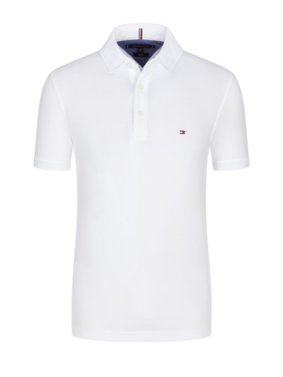 Poloshirt in Piqué-Baumwolle, Slim Fit in WEISS