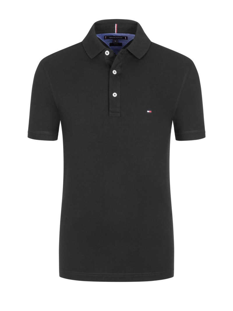 Poloshirt in Piqué-Baumwolle, Slim Fit in SCHWARZ