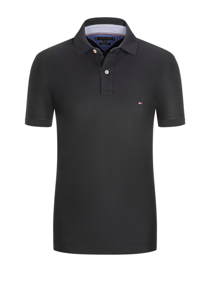 Poloshirt in reiner Baumwolle, Regular Fit in SCHWARZ