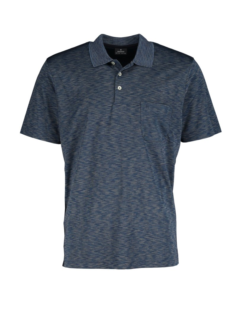Poloshirt in melierter Optik in BLAU