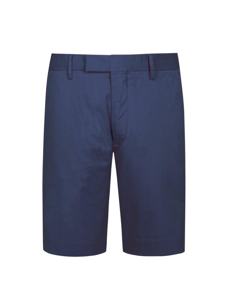Bermuda mit Stretchanteil, Slim Fit in MARINE