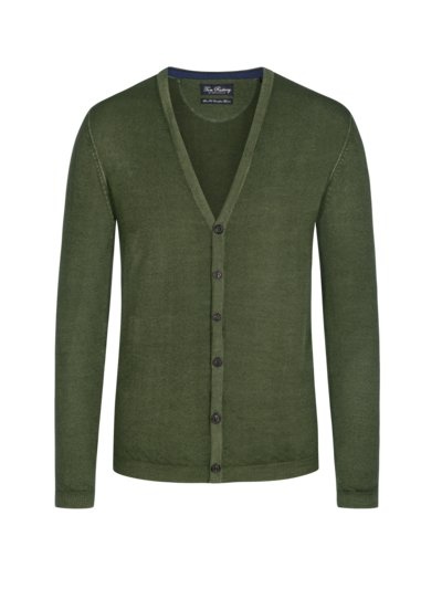 Cardigan in reiner Merinowolle, Slim Fit in GRUEN