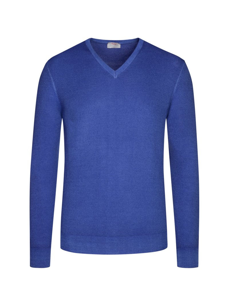 Pullover aus reiner Schurwolle, V-Neck in ROYAL