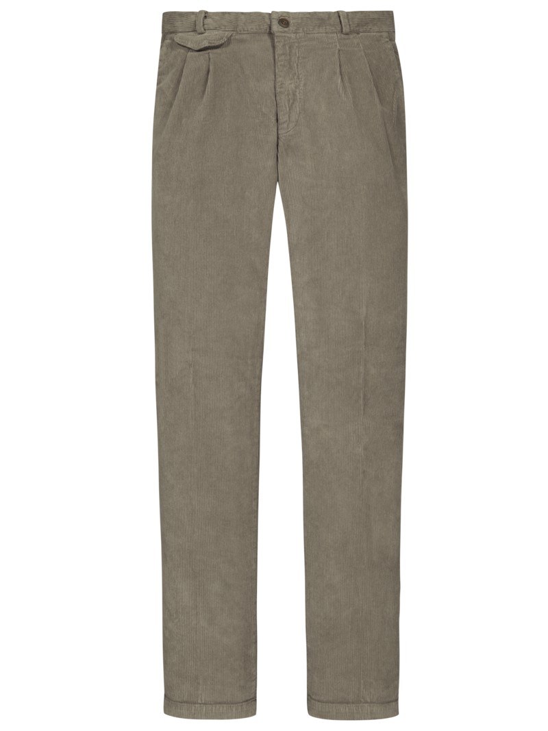 Bundfaltenhose in Breitcord, Amalfi, Relaxed Fit in BEIGE