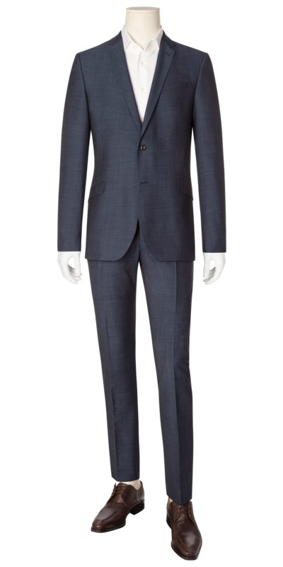 Businessanzug im Minimaldessin, Allen/Mercer, Slim Fit in BLAU