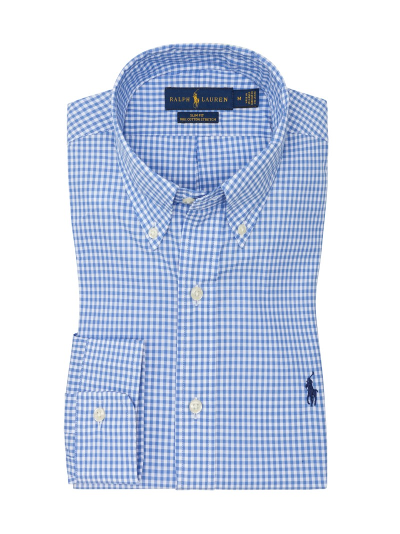 Kariertes Hemd, Slim Fit mit Button-Down-Kragen in BLAU