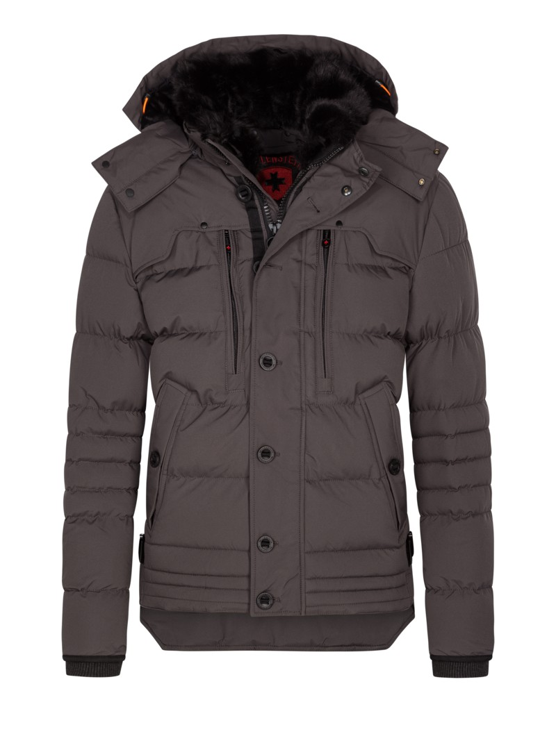 Winterjacke mit Teddy-Fleece Futter, Stardust in GRAU