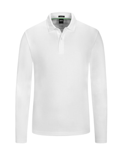 Langarm Poloshirt, Regular Fit in WEISS