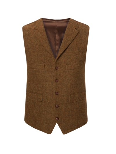 Weste, Harris Tweed in MESSING
