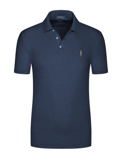 Poloshirt in melierter Optik, Slim Fit in MARINE