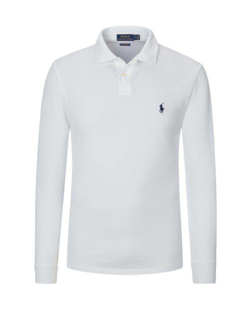 Langarm-Poloshirt, Custom Slim Fit in WEISS