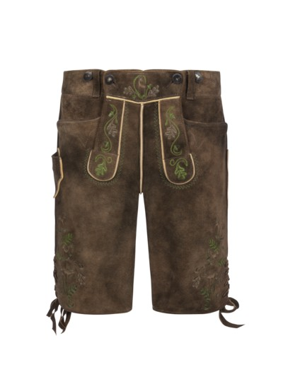 Lederhose mit traditioneller Stickerei in BRAUN