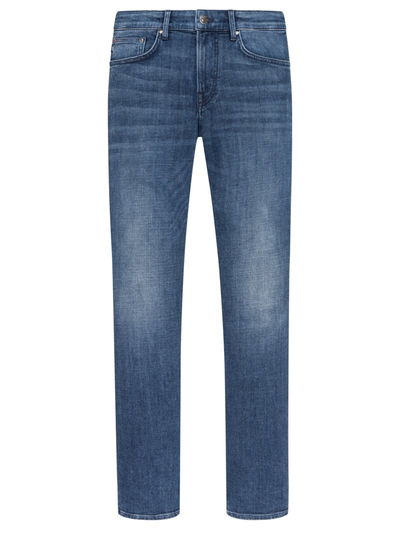 5-Pocket-Jeans mit Destroyed-Details, Re-Invent, Modern Fit in DENIM