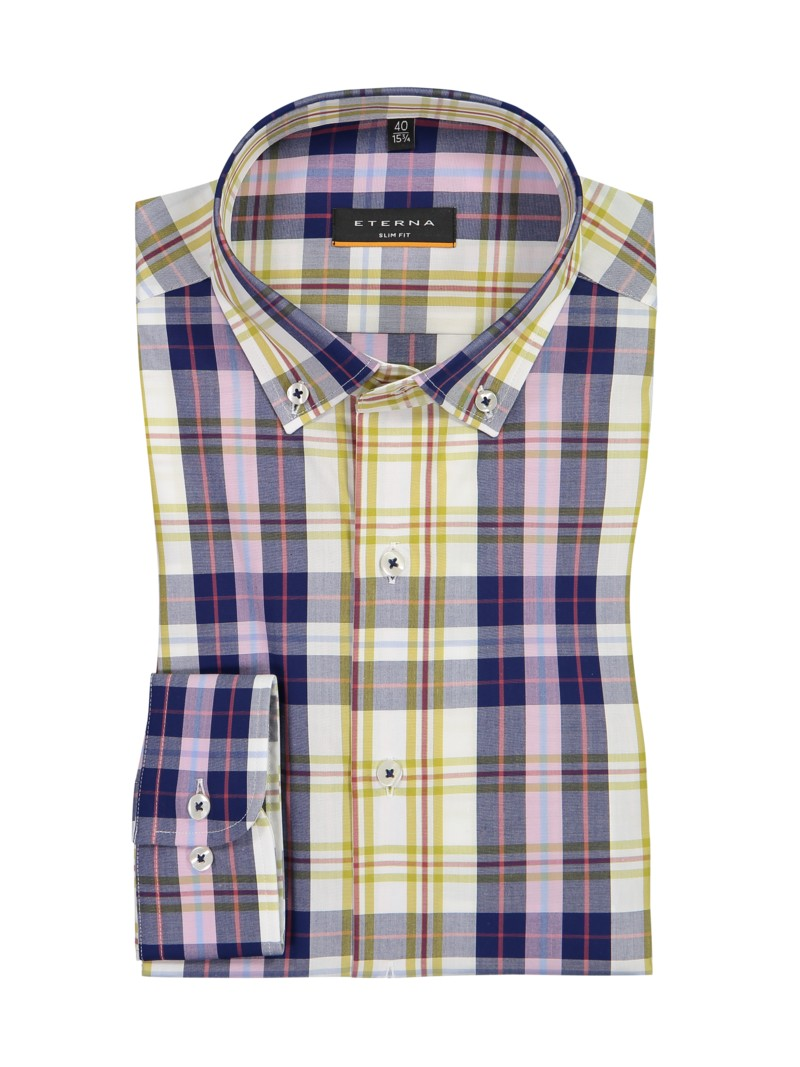 Kariertes Hemd mit Button-Down-Kragen, Slim Fit in GELB