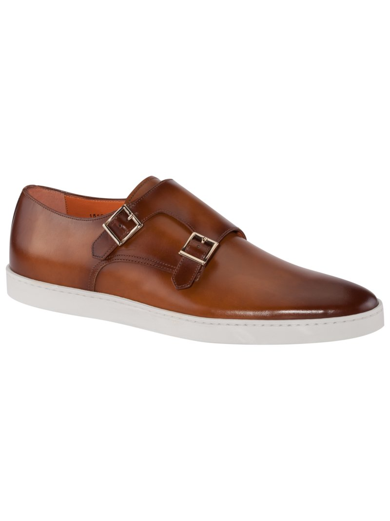 Eleganter Sneaker in Doppelmonk-Form in COGNAC