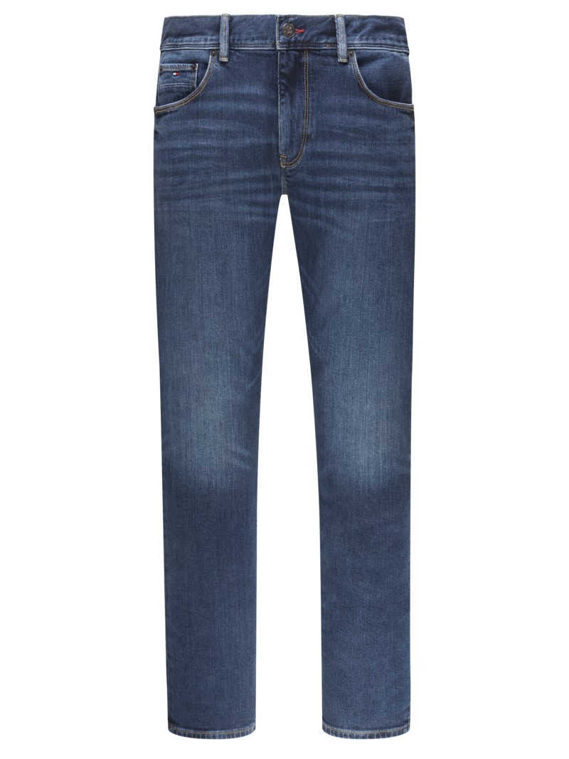 5-Pocket Jeans im Washed-Look, Denton, Straight Fit in BLAU