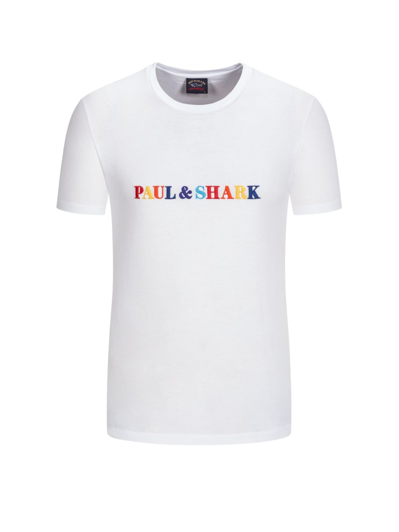 T-Shirt mit bunter Logo-Stickerei in WEISS