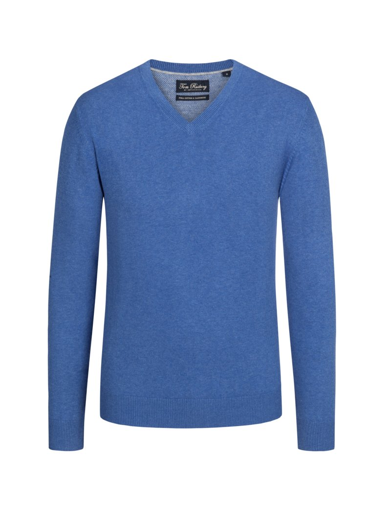 Pullover mit Kaschmiranteil, V-Neck in ROYAL