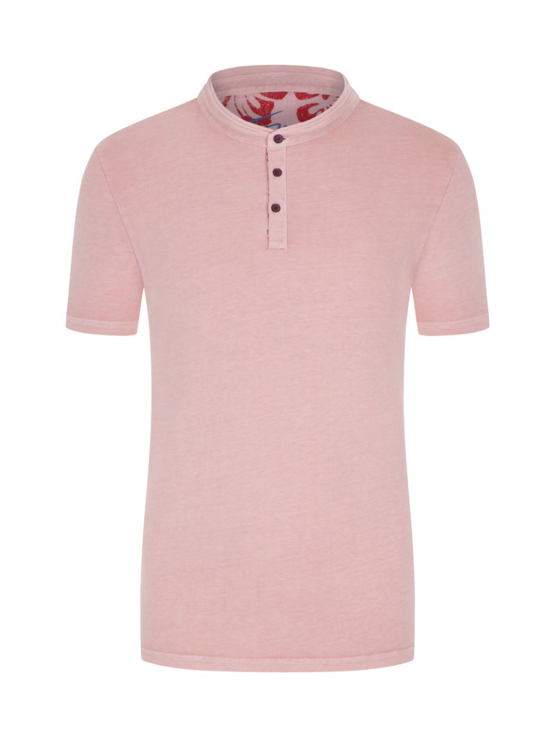 T-Shirt mit Serafino-Kragen in ROSE