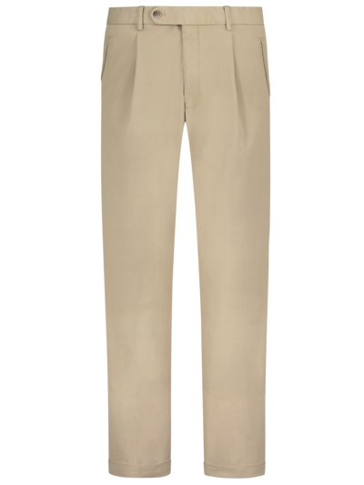 Chino mit Bundfalte, Morello-U, Regular Fit in BEIGE