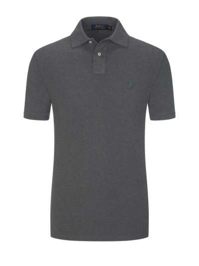 Poloshirt in melierter Optik, Custom Slim Fit in GRAU
