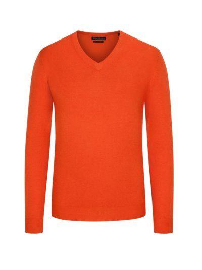 Pullover aus Merino-Kashmir, V-Neck in ORANGE
