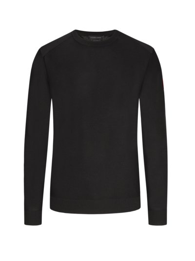 Pullover, O-Neck, in Merinowolle in SCHWARZ