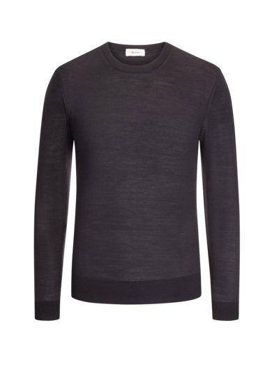 Pullover aus 100% Wolle, O-Neck in GRAU