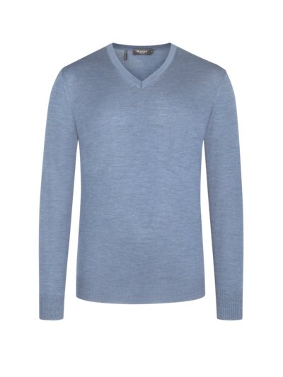 Pullover, V-Neck, in Merinowolle in HELLBLAU