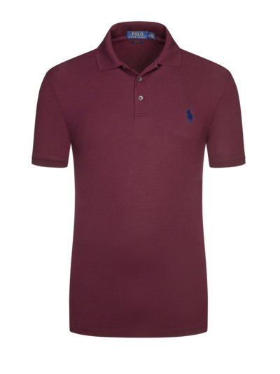 Poloshirt, Stretch Mesh, Slim Fit in BORDEAUX