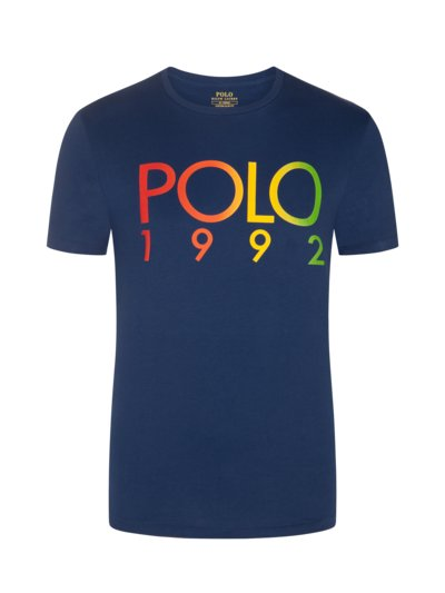T-Shirt mit Logo-Frontprint, Custom Slim Fit in MARINE
