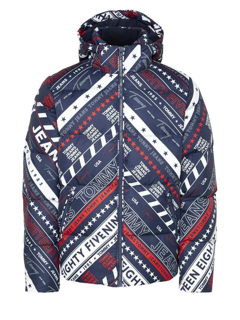 Daunenjacke im All-Over-Print, Regular Fit in BLAU