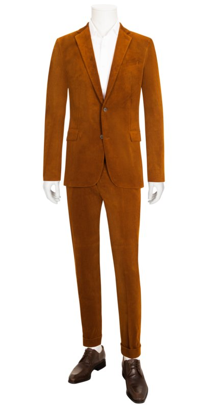 Businessanzug in Cord, Slim Fit in COGNAC
