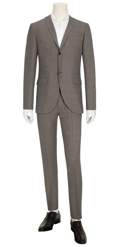 Businessanzug in Minimalstruktur, Slim Fit in BEIGE