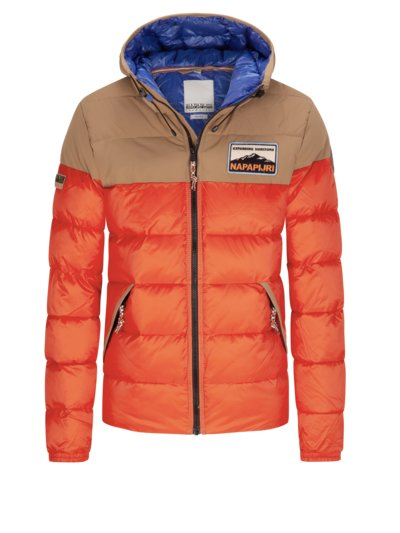 Modische Steppjacke mit Kapuze in ORANGE