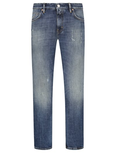 Jeans mit Used-Look, Drop Cropped, Slim Fit in BLAU