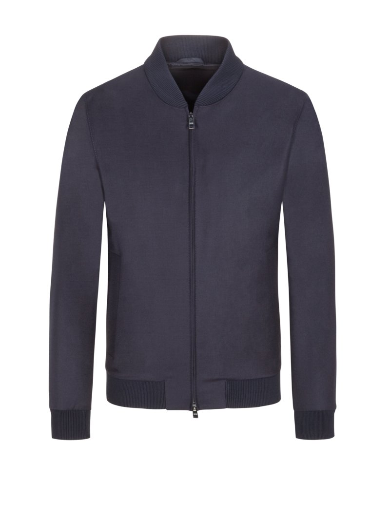 Schurwoll-Blouson mit Stretch-Tailoring, Slim Fit in MARINE