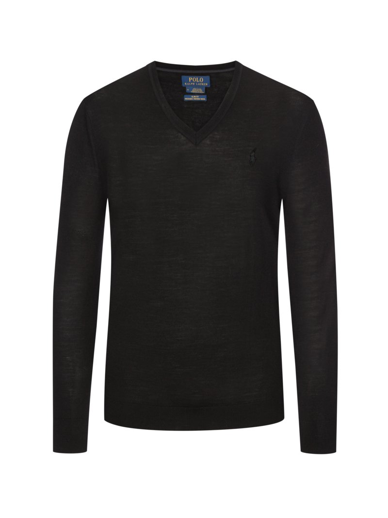 Pullover, V-Neck, Slim Fit in BORDEAUX