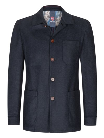 Sakko im Material-Mix, Overshirt-Look in MARINE